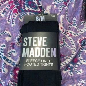 NWT Steve Madden Fleece lined footed tights
